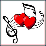 Love is game. Two musical hearts play together on a musical camp, they united in the love forever Stock Images