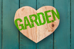 Love garden message wooden heart on turquoise painted background Royalty Free Stock Photos