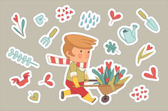 Love Gardener stickers set, Dodo people collection. Love Gardening stickers, cartoon vector illustration - a gardener wearing gloves and yellow rubber boots Royalty Free Stock Image