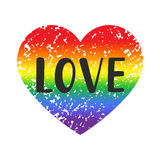 Love gay pride emblem. With hand written lettering on a rainbow spectrum flag heart shape. Poster, placard, t shirt print vector design vector illustration