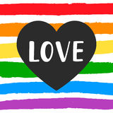 Love Gay pride emblem with hand written lettering Stock Images