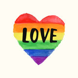 Love Gay Pride poster rainbow spectrum heart shape, brush lettering Stock Images