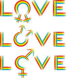 Love - gender rainbow. Rainbow symbol of gay or lesbian or heterosexuality love Royalty Free Stock Photos