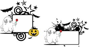 Love Ghost cartoon expression halloween copyspace set Stock Photography