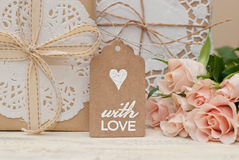 With love. Gift bag packaging and decoration Stock Photo