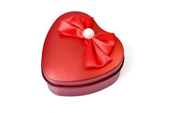 Love Gift Box. Red heart gift box on white background Stock Photos