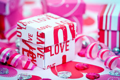 Love Gift Box and Ribbons Stock Photo
