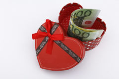 Love gift with Euros (EUR). In a red gift box Royalty Free Stock Photo