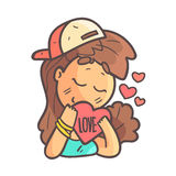 In Love Girl In Cap, Choker And Blue Top Hand Drawn Emoji Cool Outlined Portrait. Part Of Funky Flat Vector Sticker Series With Teenager Different Emotional Stock Photos