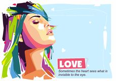 Love Girl. Check out this colorful portrait of love! A very good example of the geometric style, this new and free love is available for download right now Royalty Free Stock Photos