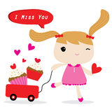 Love Girl Cute Cartoon Character Vector Royalty Free Stock Photos
