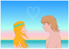 In love girl and guy. Woman and man looking at each other an enamored sight Royalty Free Stock Photos