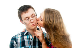 Love with girl kisses a guy Stock Photos