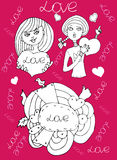 Love girl pink background Stock Photography