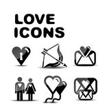 Love glossy icon set. Vector illustration Royalty Free Stock Photo