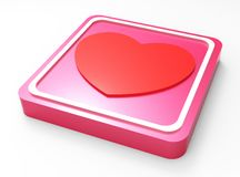 Love glossy pink square button Royalty Free Stock Images