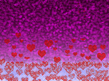 Love glow background blur effects. Blue glow  hearts stars background texture Stock Photo