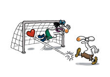 Love Goal. Man is scoring goal with heart Stock Photography