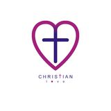 Love of God conceptual symbol combined with Christian Cross and Stock Photo