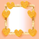 Love gold glitter frame Stock Photos