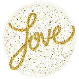 Love. Gold glitter sparkle texture  on white. Valentine's day or wedding card template. Royalty Free Stock Image