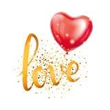 Love gold letter heart balloon Stock Photo