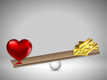Love and gold on the scales. Vector art illustration Royalty Free Stock Image