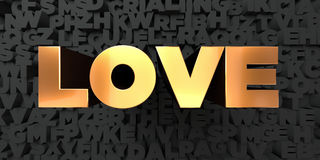 Love - Gold text on black background - 3D rendered royalty free stock picture Stock Photos