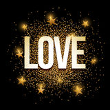 Love golden glitter background banner. Love banner with gold glitter. Vector illustration. Elements are layered separately in vector file Royalty Free Stock Photo