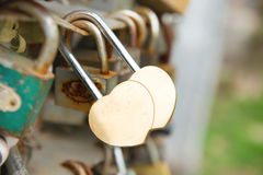 Love golden romance lock. With heart shape on the bridge Royalty Free Stock Photos
