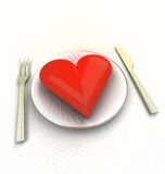 Love good and tasty cuisine and eating render Stock Image