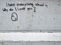 Love graffiti. Graffiti on grey wall concerning love Royalty Free Stock Photo