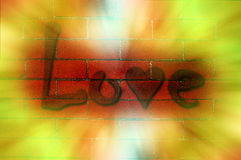Love Graffiti on Brick Wall Stock Images