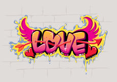 LOVE graffiti design. Love sign graffiti illustration on wall to celebrate valentine's day Stock Images