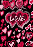 Love graffito. With lots of hearts Royalty Free Stock Images