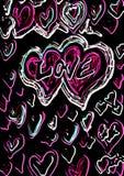 Love graffito neon. Love graffito with lots of hearts Royalty Free Stock Image