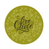 Love Greece. Lettering handdrawn quote with doodle food symbols. Love Greece. Lettering handdrawn quote with doodle symbols of national Greek cuisine.n Royalty Free Stock Photography