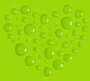 We love green. Green heart made of water drops Stock Photo