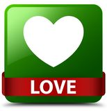Love green square button red ribbon in middle Stock Photo