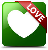 Love green square button. Reflecting shadow with red ribbon in corner Stock Image