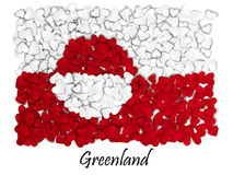 Love Greenland. Flag Heart Glossy. With love from Greenland. Made in Greenland. Greenland national independence day. Sport team fl Stock Images