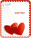 Love greeting card. A white  background with hearts Royalty Free Stock Photo