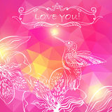 Love Greeting Card with Bird and Flowers. Vector illustration, c Royalty Free Stock Photos