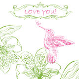 Love Greeting Card with Bird and Flowers. Royalty Free Stock Photography