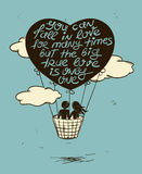 Love Greeting Card With Flying Couple In Hot Air Balloon. Stock Images