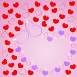 Love greeting card with frame of hearts for wishes. Happy Valentine`s day. Vector illustration. Eps 10 royalty free illustration