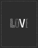 Love greeting card with hand drawn letters. Love greeting card with hand drawn decorative letters on black background Stock Photos