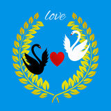 Love greeting card with a heart and swans on blue Royalty Free Stock Image