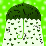 Love greeting card. Love hearts falling from an umbrella Stock Photography