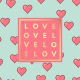 Love greeting card with hearts pattern Royalty Free Stock Photography